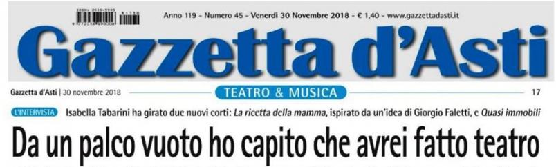Intervista per La Gazzetta d'Asti